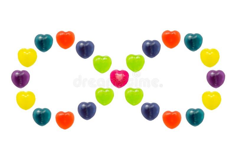 Sucrerie de coeur réglée dans la forme d'infini pour Valentine photo stock