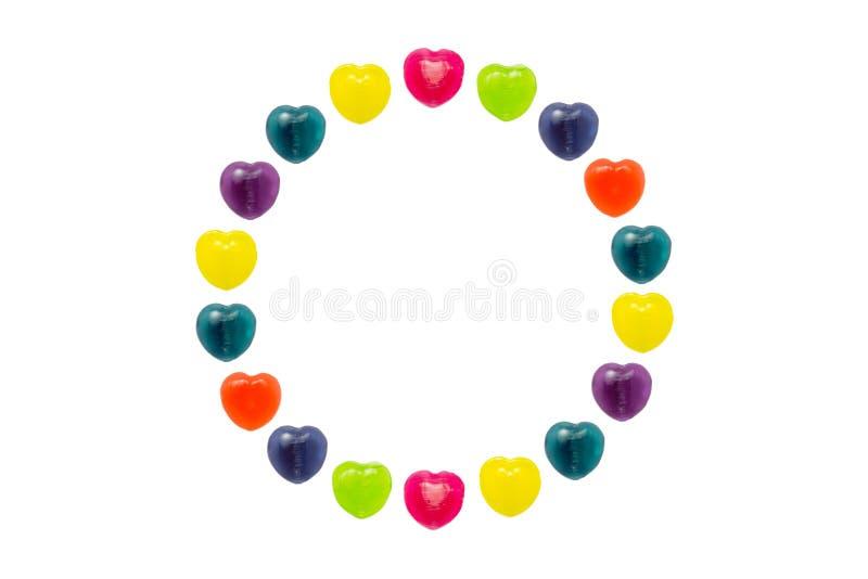 Sucrerie de coeur réglée dans la forme de cercle pour Valentine image stock