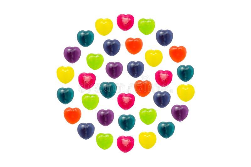 Sucrerie de coeur réglée dans la pleine forme de cercle pour Valentine image libre de droits