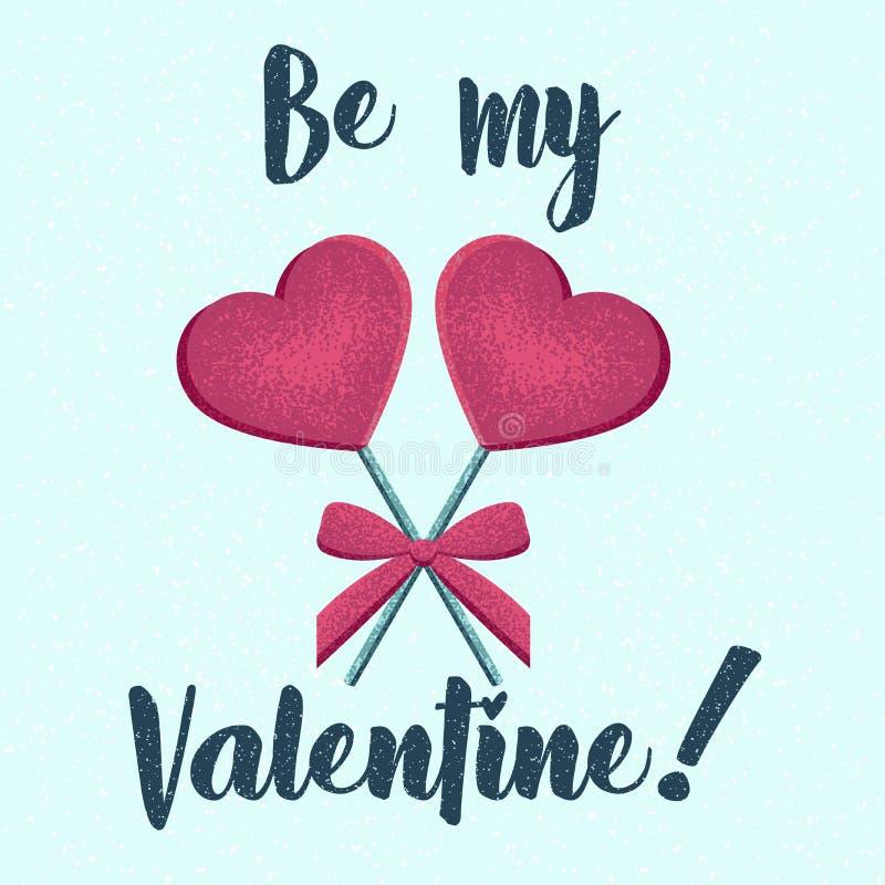 Sucrerie de lucette de coeur de vecteur, invitation heureuse de Saint Valentin, carte de voeux illustration de vecteur