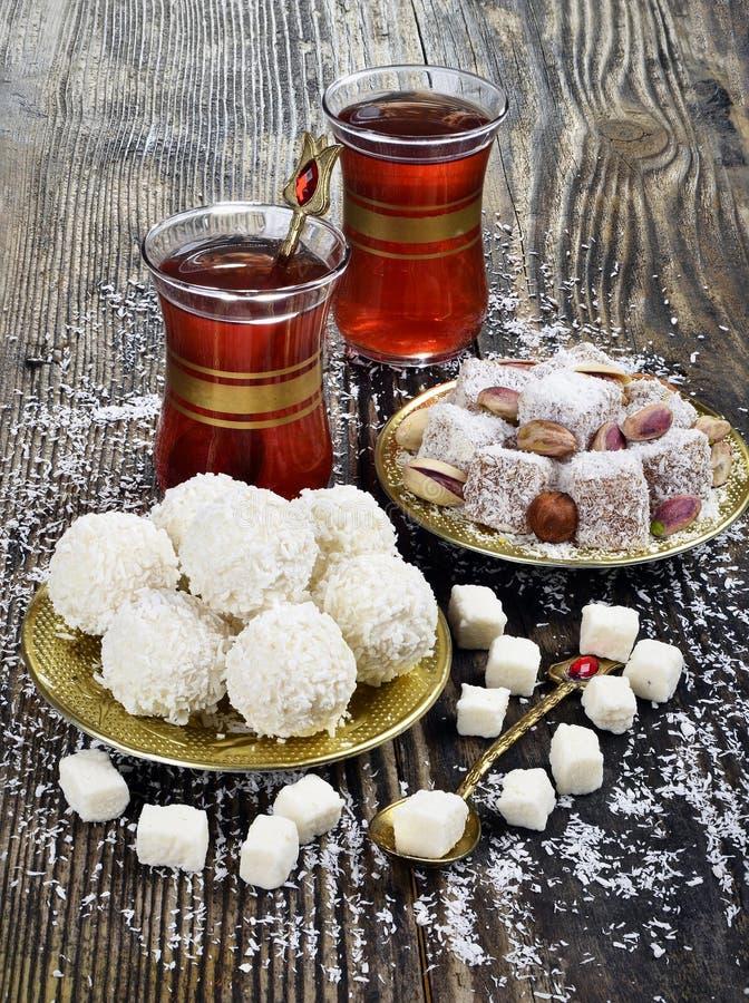 Sucrerie de noix de coco et plaisir turc images stock