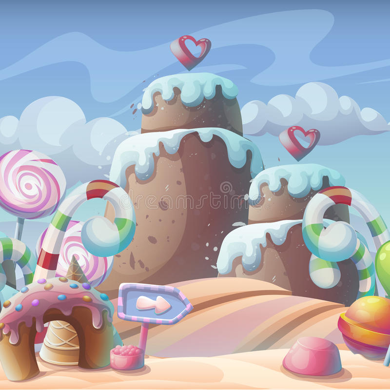 sucrerie de Pain d'épice-caramel sous une composition en ciel nuageux illustration libre de droits