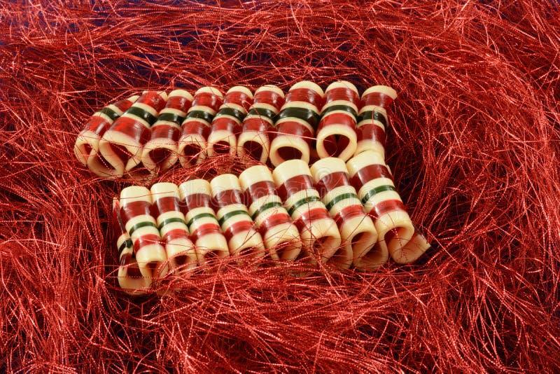 Sucrerie de ruban de Noël de cannelle images libres de droits