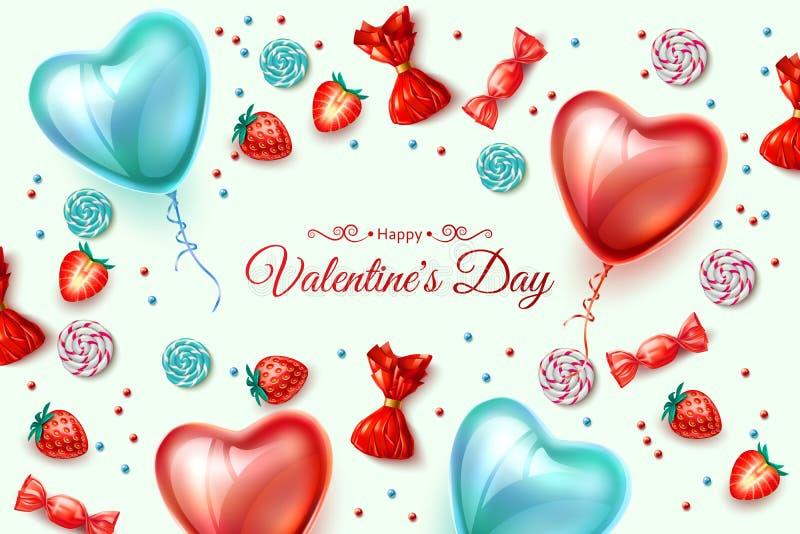 Sucrerie heureuse de ballon de coeur de Saint Valentin de vecteur illustration de vecteur