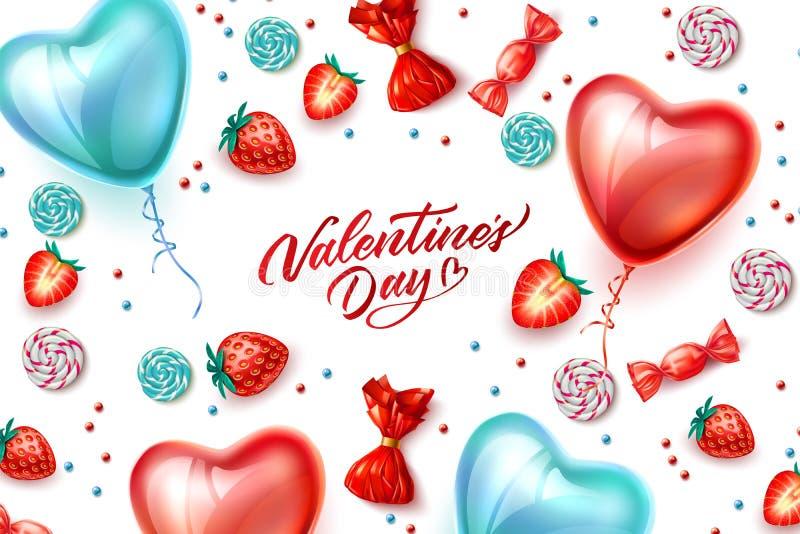 Sucrerie heureuse de ballon de coeur de Saint Valentin de vecteur illustration stock