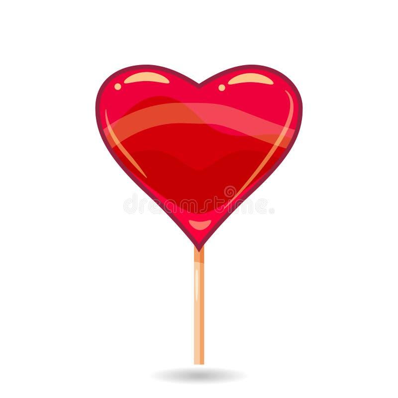 Sucrerie rose sur un bâton sous forme de coeur Illustration de vecteur de lucette Vecteur, illustration, style de bande dessinée illustration de vecteur