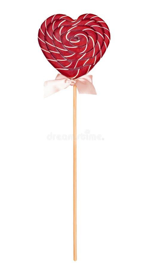 Sucrerie sous forme de coeur, sucrerie pour des lucettes de Saint-Valentin sur un fond blanc image libre de droits