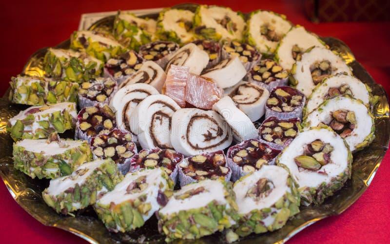 Sucrerie traditionnelle de lokum de plaisir turc images stock