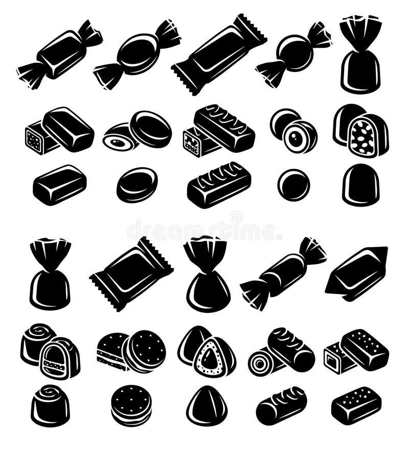 Sucreries, chocolat, ensemble de lucette Éléments et collection d'icônes Vecteur illustration stock