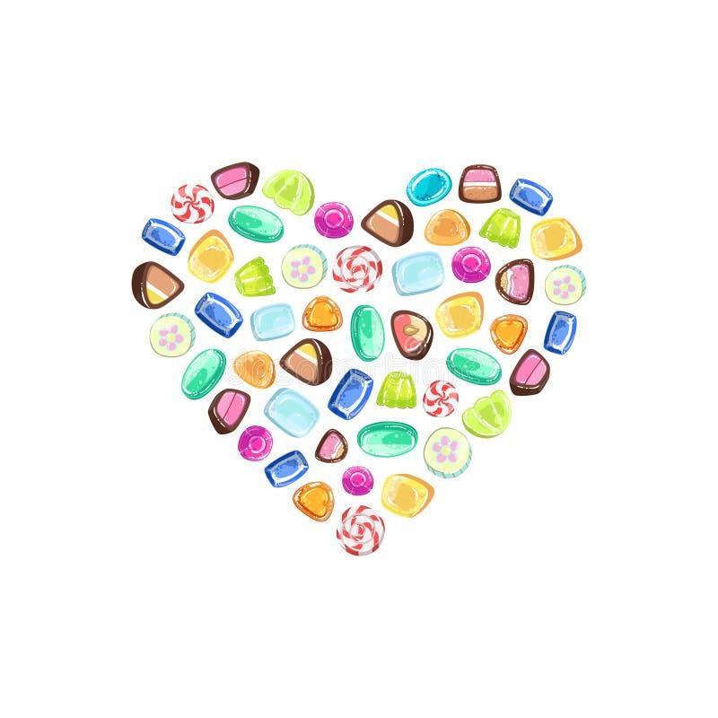 Sucreries colorées dans la forme de coeur, illustration de vecteur d'élément de conception de magasin de sucrerie illustration de vecteur