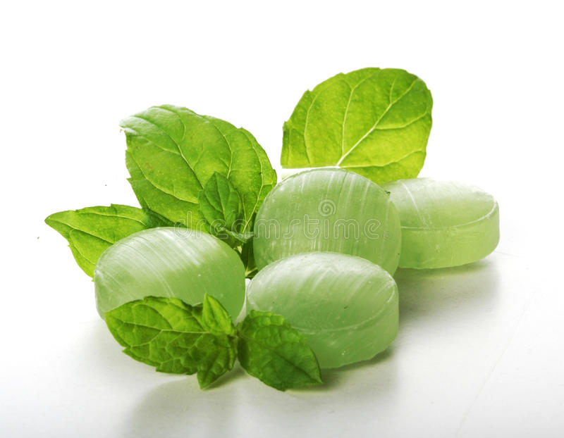 Sucreries en bon état vertes sur le bacground blanc images stock