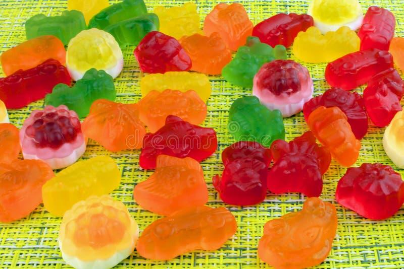 Sucreries et confiture d'oranges colorées de gelée photographie stock