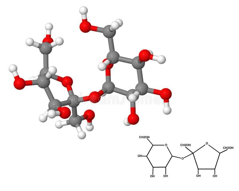 Sucrose molecule with chemical formula stock illustration