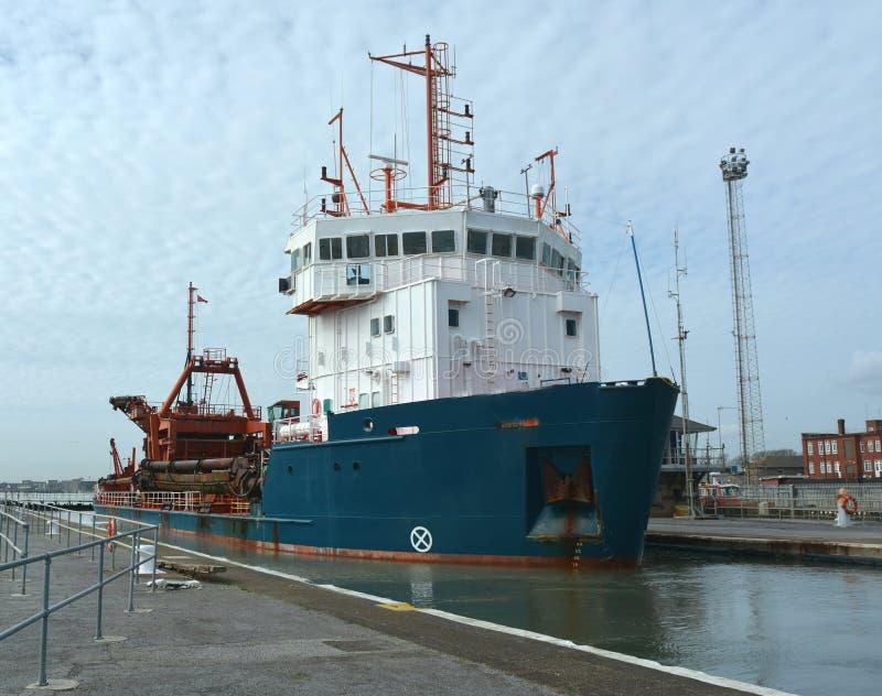 Dredger ship stock photos