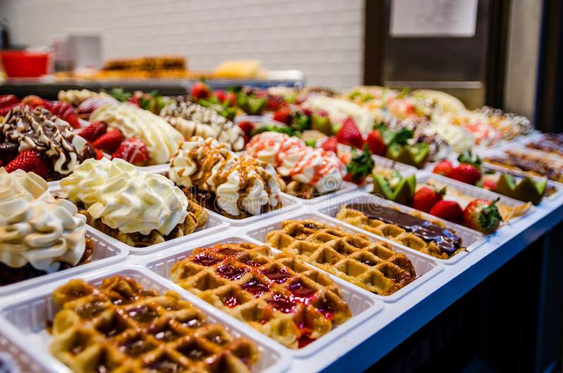 Suculent Belgian waffles royalty free stock photography