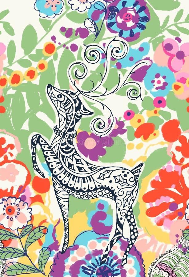 ¼ suculento sustancioso Œdeer del plantsï del ¼ Œ del succulentï del ¼ Œ del plantï y flores ilustración del vector