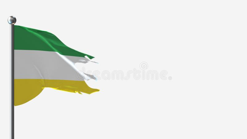 Sucumbios Ekwador 3D z tatuażem wymachuje flagą na Flagpole ilustracja wektor