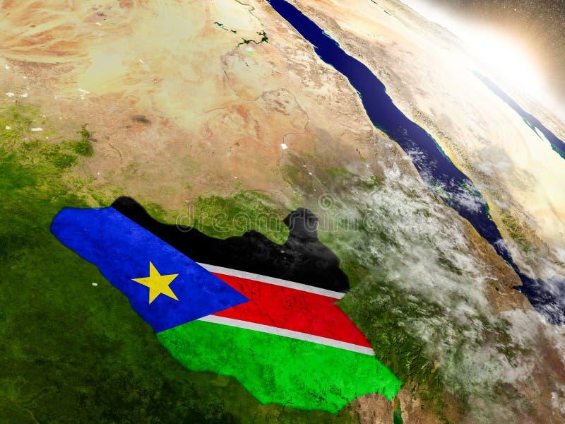 Sudán del sur con la bandera en sol naciente ilustración del vector