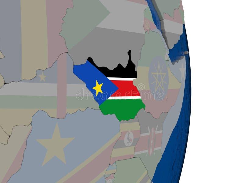 Sudán del sur con su bandera stock de ilustración