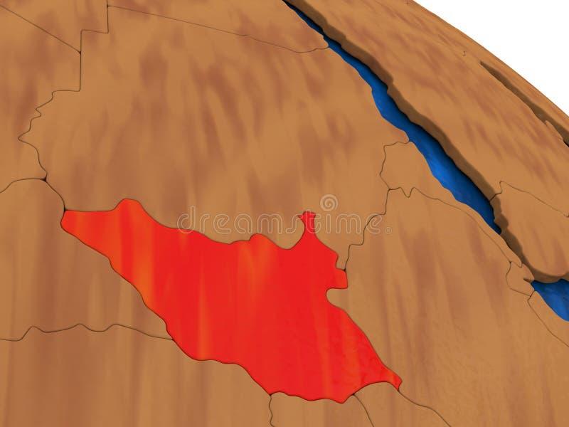 Sudán del sur en el globo de madera libre illustration
