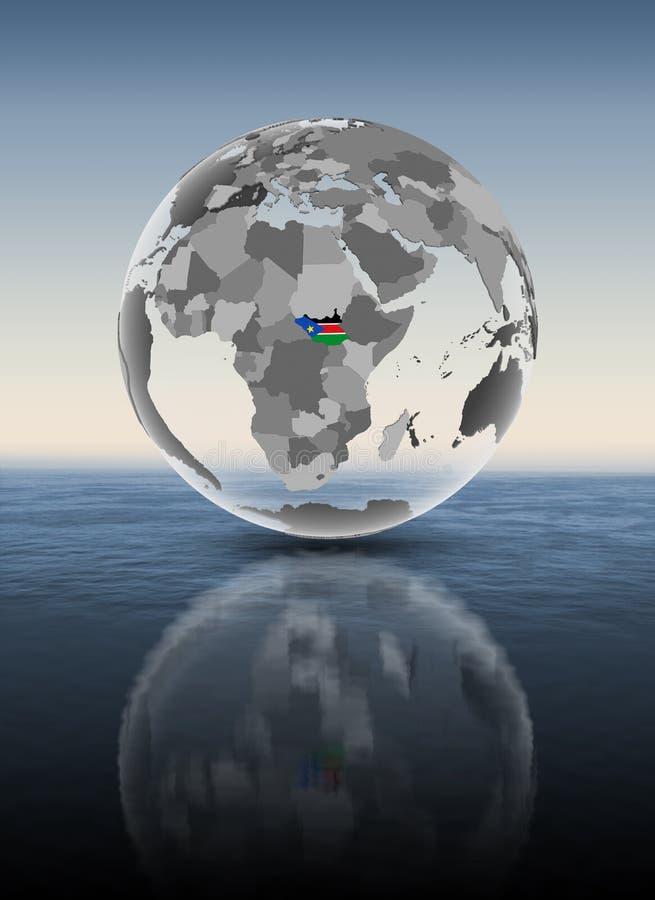 Sudán del sur en el globo translúcido por encima de la superficie stock de ilustración