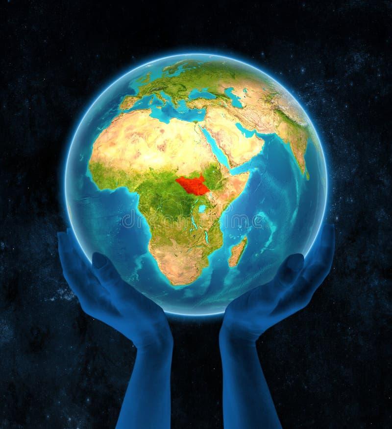 Sudán del sur en la tierra en manos libre illustration
