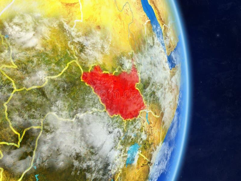 Sudán del sur en la tierra del planeta del planeta con las fronteras del país Superficie y nubes extremadamente detalladas del pl ilustración del vector