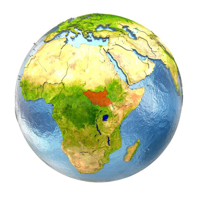 Sudán del sur en rojo en la tierra llena libre illustration