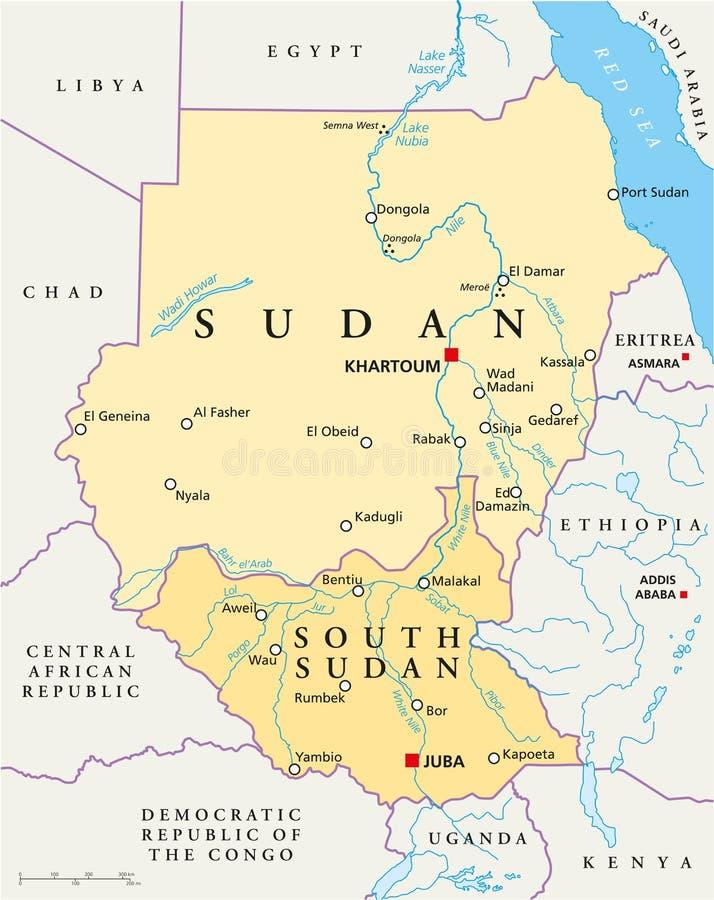 Sudão e mapa político sul de Sudão ilustração do vetor
