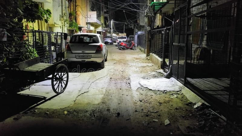 Sud Delhi de Malviya Nagar de H-bloc de rue arrière photographie stock