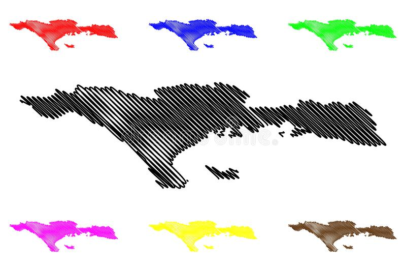 Sud department Republic of Haiti, Hayti, Hispaniola, Departments of Haiti map vector illustration, scribble sketch Sud map stock illustration