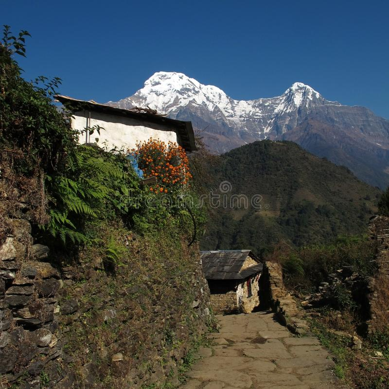 Sud di Annapurna e Hiun Chuli, vista da Ghandruk fotografia stock libera da diritti