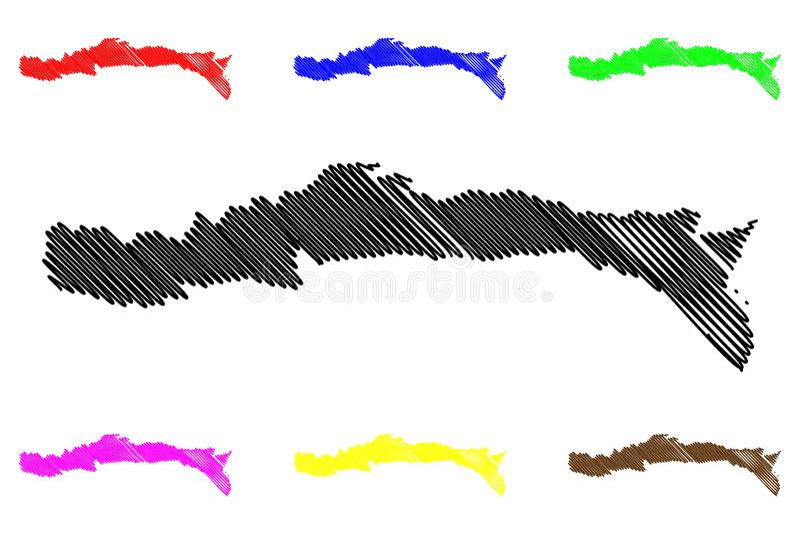 Sud-Est department Republic of Haiti, Hayti, Hispaniola, Departments of Haiti map vector illustration, scribble sketch Sud-Est vector illustration