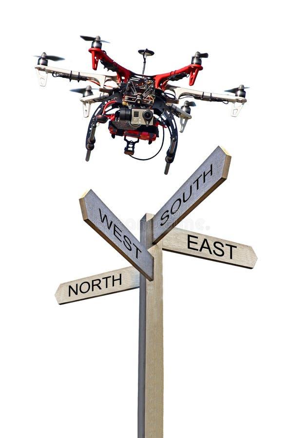 Sud-est di nord-ovest di direzione di informazioni della freccia del fuco pubblico del segno immagine stock