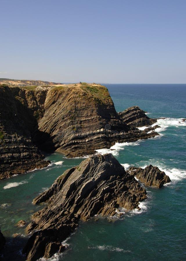 Sud mediterraneo della linea costiera del Portogallo immagine stock libera da diritti