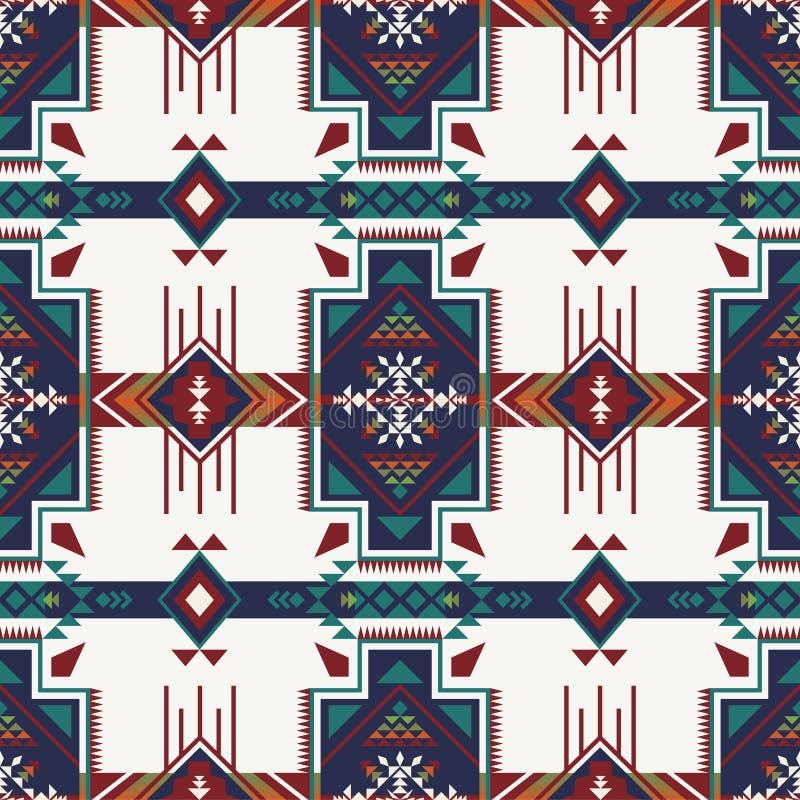 Sud-ouest indigène américain, indien, aztèque, bagout sans couture de Navajo illustration de vecteur
