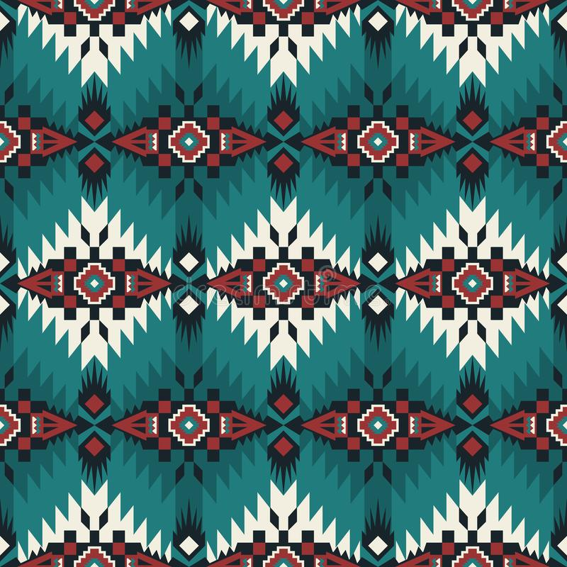 Sud-ovest indigeno americano, modello senza cuciture indiano, azteco, navajo Progettazione geometrica royalty illustrazione gratis