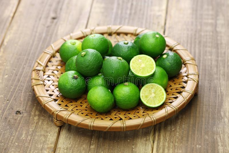 Sudachi, japanese citrus fruit stock photos