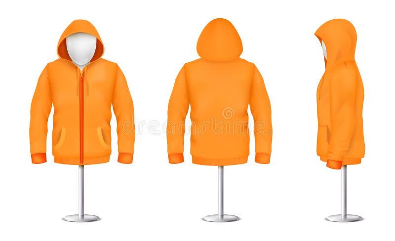 Sudadera con capucha anaranjada del vector con la cremallera en maniquí stock de ilustración