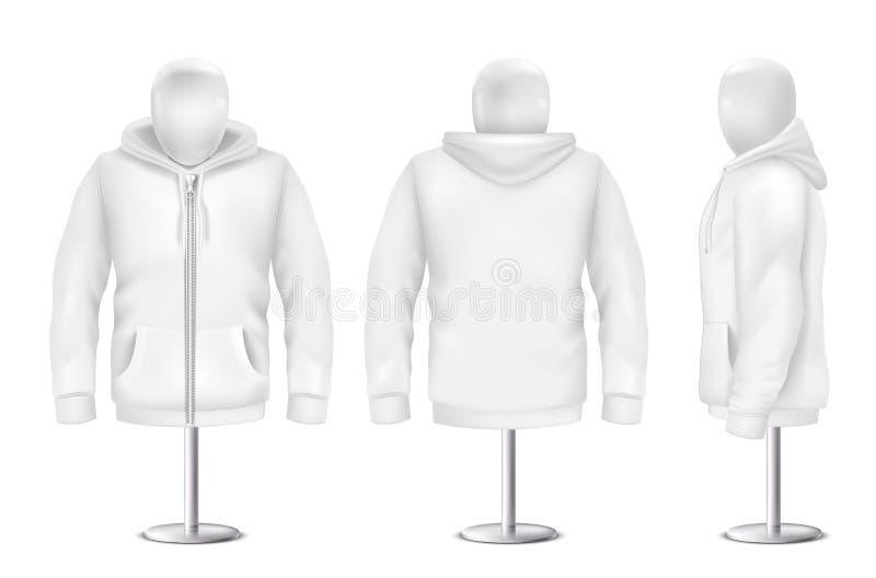 Sudadera con capucha blanca realista del vector 3d en maniquí stock de ilustración