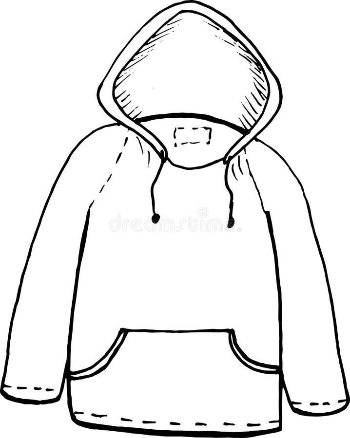 Sudadera con capucha ejemplo del dibujo de la mano del garabato, vector en el fondo blanco stock de ilustración