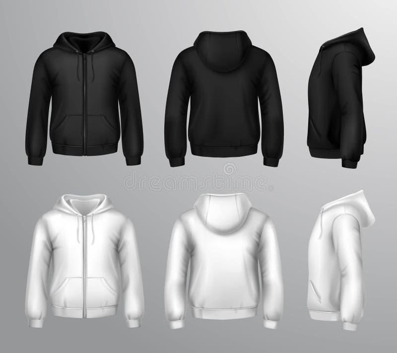 Sudaderas con capucha masculinas blancos y negros stock de ilustración