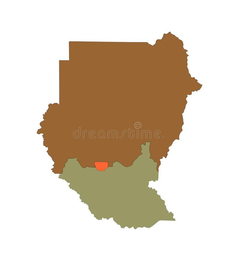 Sudan översiktskontur med nya gränser Afrika, Republiken Sudan, södra Sudan och Abyei stock illustrationer