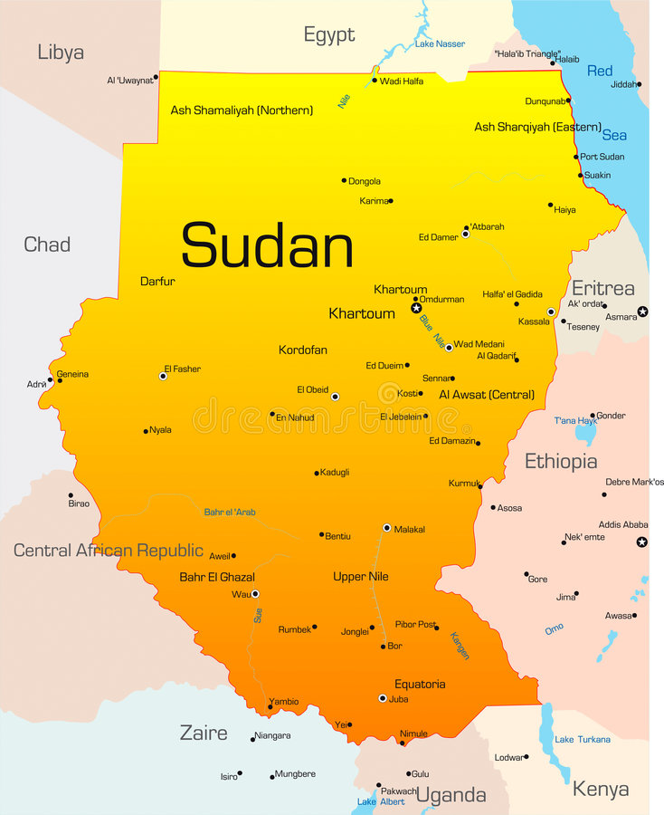 Sudan. Abstract vector color map of Sudan country