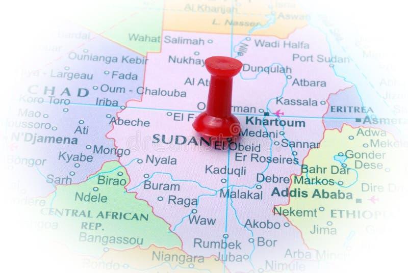 Sudan in der Karte stockbild