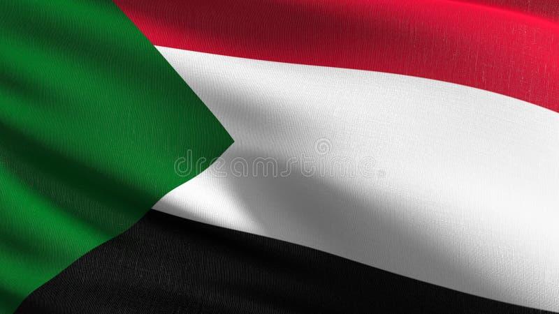 Sudan flagi państowowej dmuchanie w wiatrze odizolowywającym Oficjalny patriotyczny abstrakcjonistyczny projekt 3D renderingu ilu royalty ilustracja