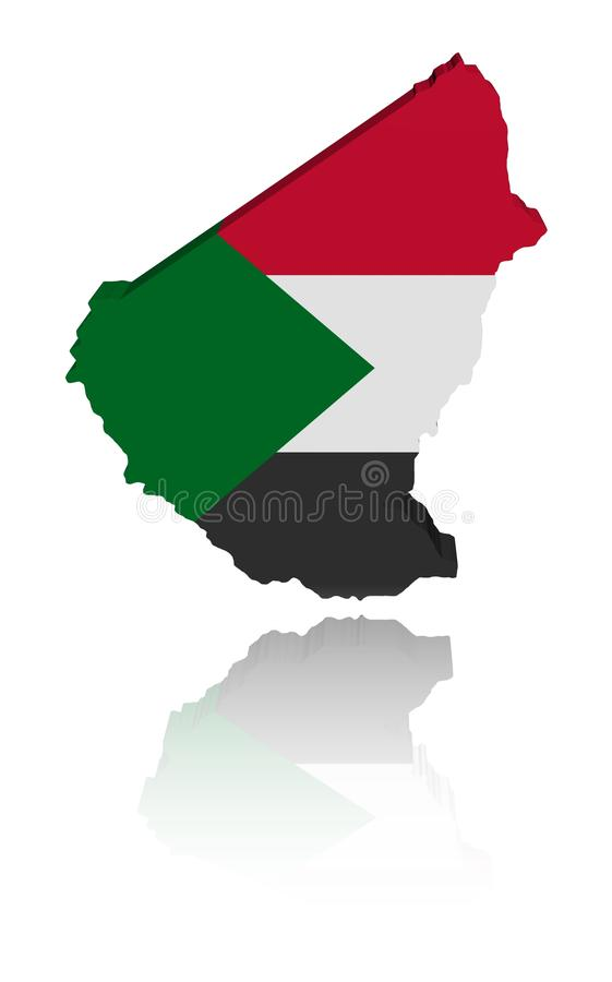 Sudan Map Flag With Reflection Royalty Free Stock Photos
