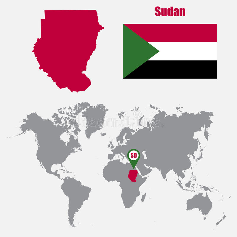 Sudan Map On A World Map With Flag And Map Pointer Vector