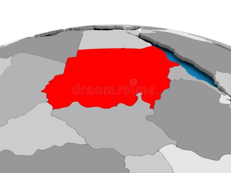 Sudan na politycznej kuli ziemskiej ilustracja wektor