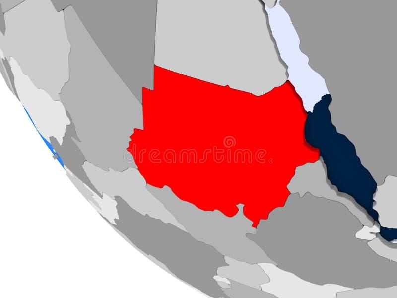 Sudan na politycznej kuli ziemskiej royalty ilustracja